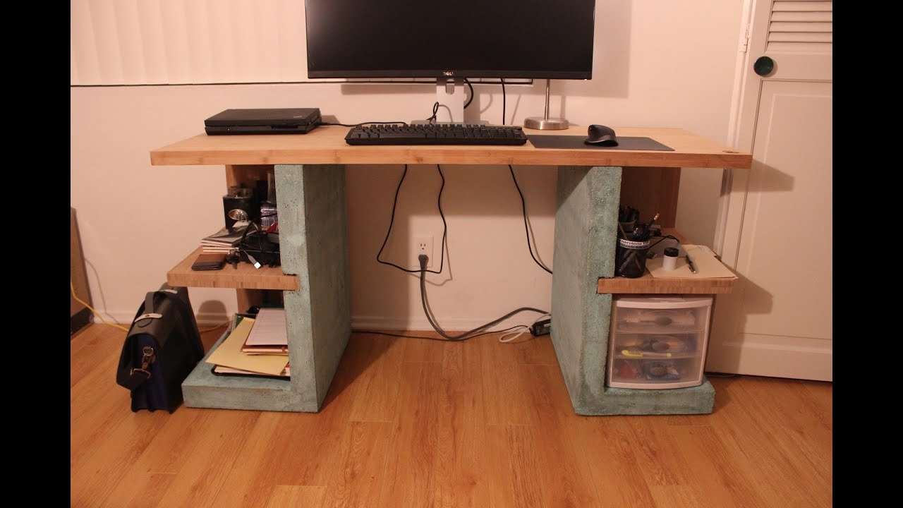 Concrete And Bamboo Desk