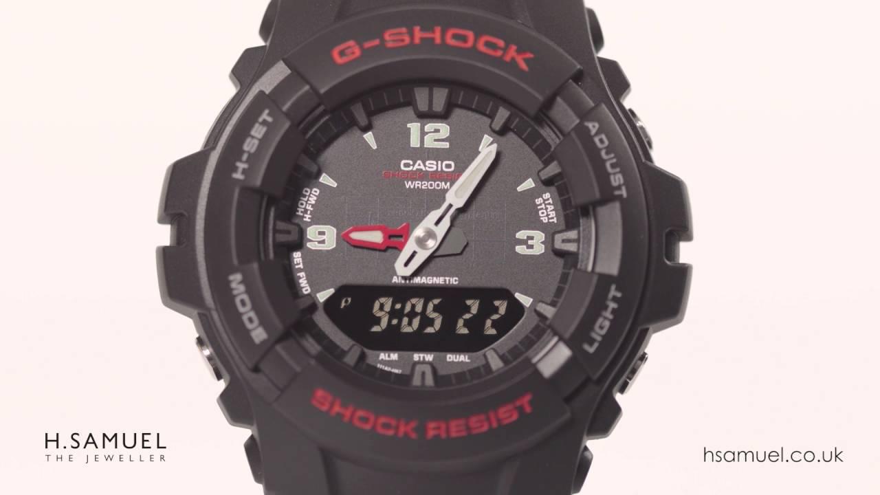 4806037930940 G-Shock Men s Black Resin Watch G-100-1BVMUR - YouTube