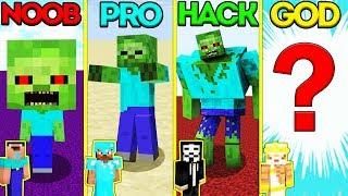 Minecraft Battle: NOOB vs PRO vs HACKER vs GOD: ZOMBIE MUTANT EVOLUTION CHALLENGE / Animation
