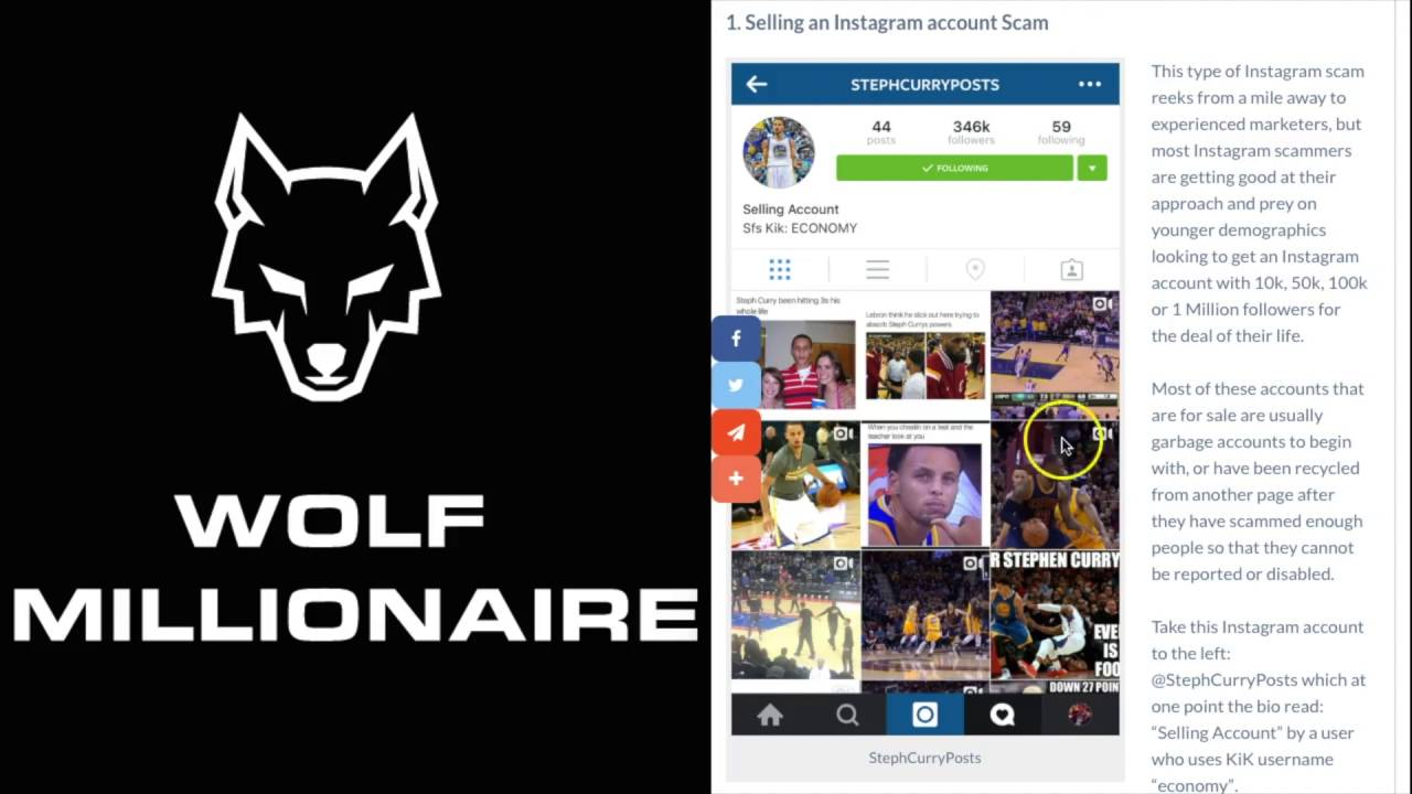 Top 5 Instagram Scams - Wolf Millionaire