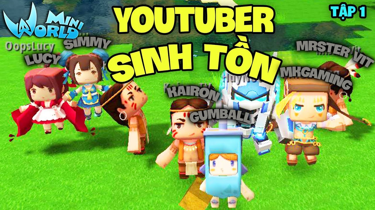 Mini World : Block Art TẬP 1*CÙNG YOUTUBER CHƠI SINH TỒN TRONG MINI WORLD*GUMBALL MINI WORLD