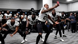 Saints locker room after win vs Panthers