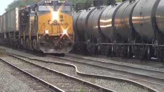 Bent Rail BNSF Oil Train Meets CSX Q009 Train