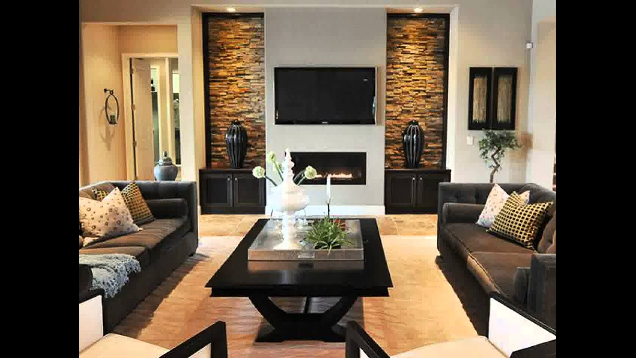 modren living room with brick fireplace in design inspiration
