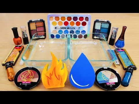 Fire vs Water - Mixing Makeup Eyeshadow Into Slime! Special Series 122 Satisfying Slime Video