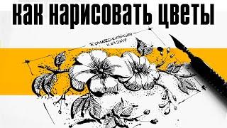 Как нарисовать цветы. Уроки рисования- Натюрморт.Ландшафтный скетчинг Эдуард  Кичигин