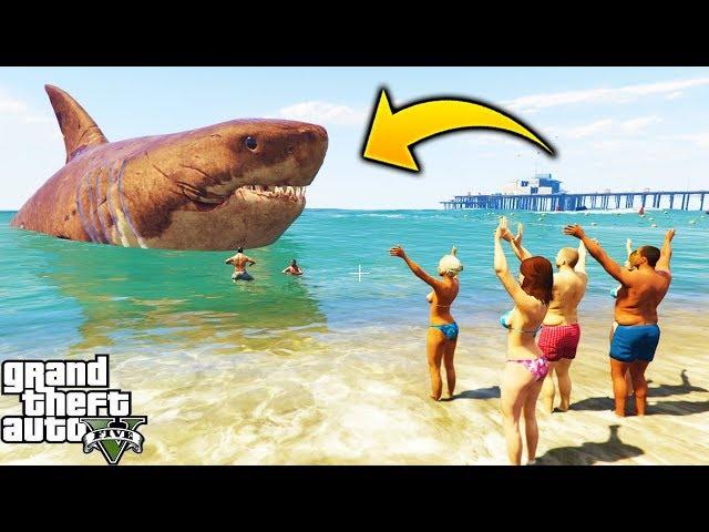 Soy Un MEGALODON! 🦈 Jugando con el Tiburon Gigante de GTA 5