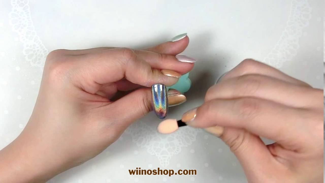 How To Create Holographic Mermaid Dust Nail Art Youtube