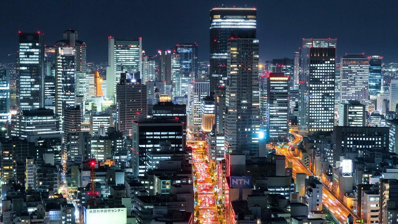 大阪の夜景 光輝く大都会 微速度撮影 Glittering Osaka City Night ...