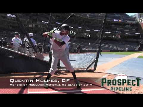 Quentin Holmes Prospect Video, OF, Monsignor McClancy Memorial High School Class of 2017