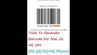 trick generate jio barcode from every 2g 3g 4g phones
