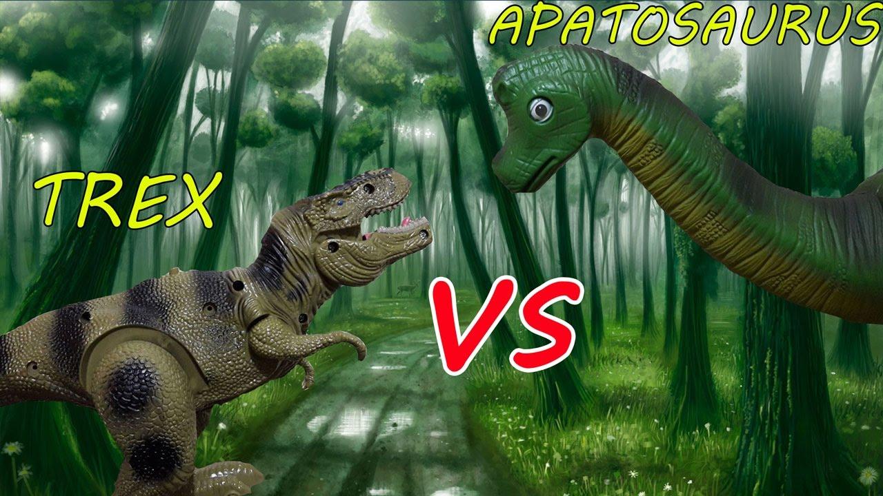 DINOSAUR BATTLE - TREX VS APATOSAURUS! KIDS TOYS - YouTube