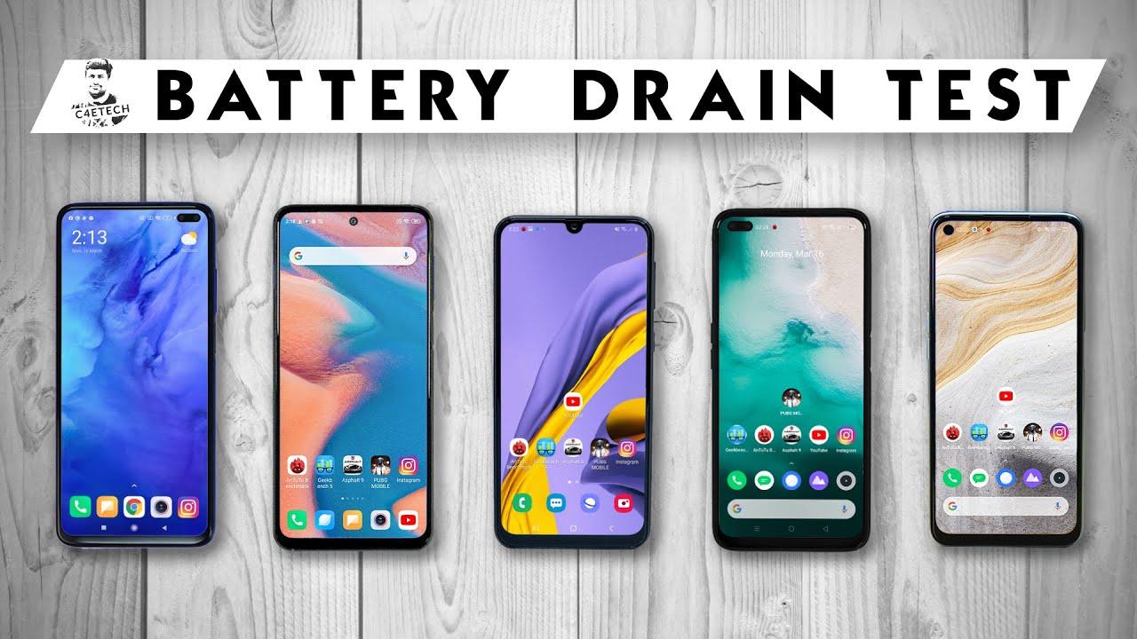 Redmi Note 9 Pro vs Realme 6 Pro / POCO X2 / Galaxy M31 / Realme 6 - Battery Life Drain Test