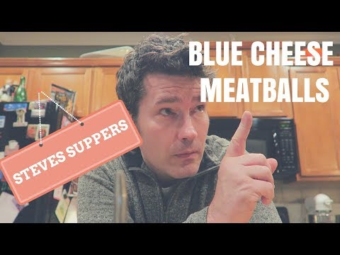 BLUE CHEESE MEATBALLS ON POLENTA WITH MINT PESTO | Steve's Suppers