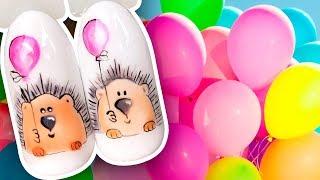 🎈 Ежик с Воздушным Шариком Яркий Дизайн Ногтей для Весеннего Маникюра / Рисунок Гель-лаком Поэтапно