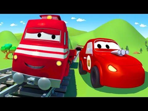 Troy der Zug und das Rennauto   Auto & Lastwagen Cartoons für Kinder