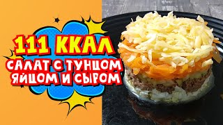 ПП Салат с тунцом, яйцом и сыром. 111 ккал на 100 г.  Ешь и худей