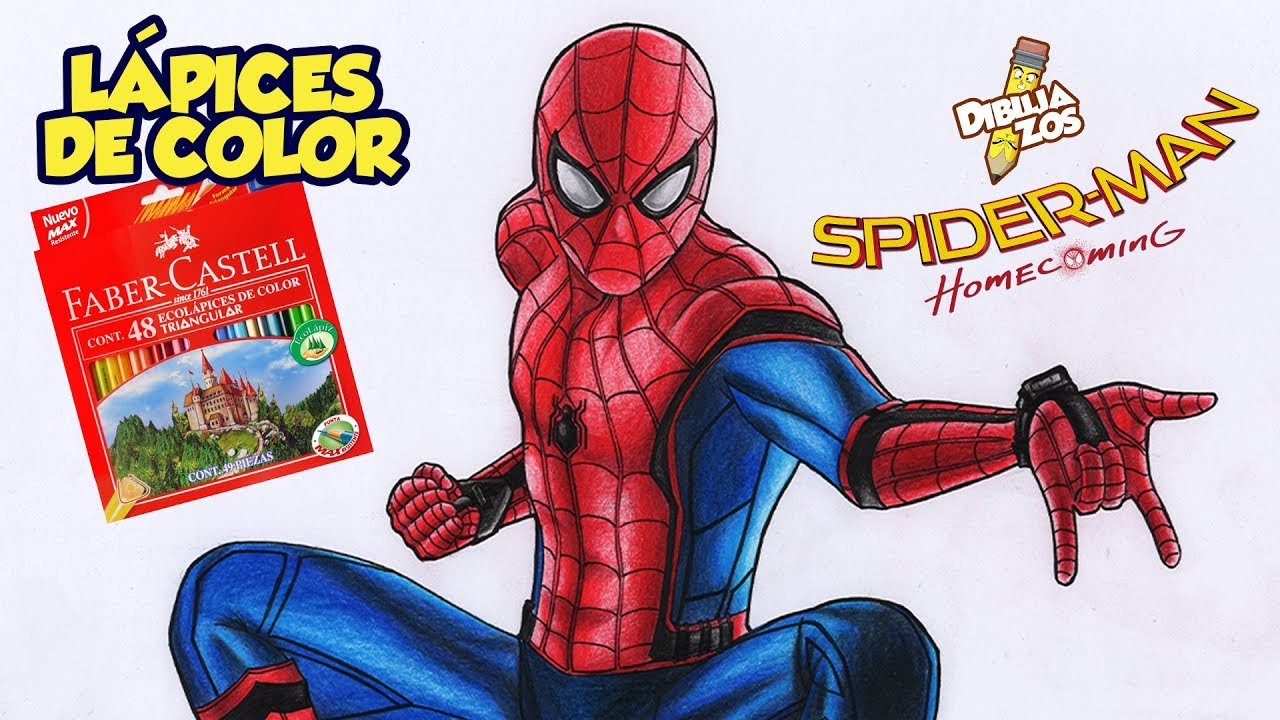 COMO DIBUJAR A SPIDERMAN HOMECOMING | LÁPICES DE COLORES BARATOS ...