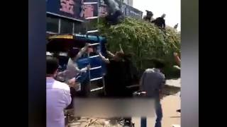 Vegetable truck becomes safety net to promptly rescue people jumping from a burning 3-story building thumbnail