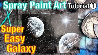 [Howto]spray paint EASY GALAXY in BLACK&WHITE/ learn spray paint art tutorial for beginners