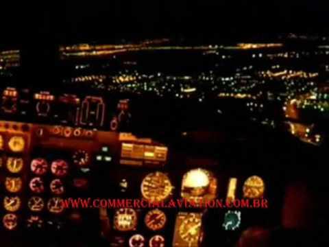 A380 Wallpaper Hd Pouso Noturno Imagem Diretamente Cabine De Comando Youtube