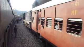 MG- Janshatabdi Express a.k.a Hill Queen Express crosses Lumding-Agartala Express at Hathikali.