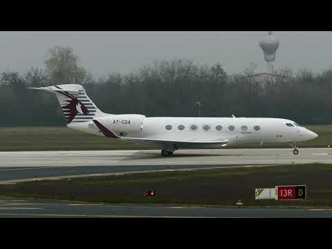 Qatar Executive Gulfstream G650ER (A7-CGA) take-off from Budapest