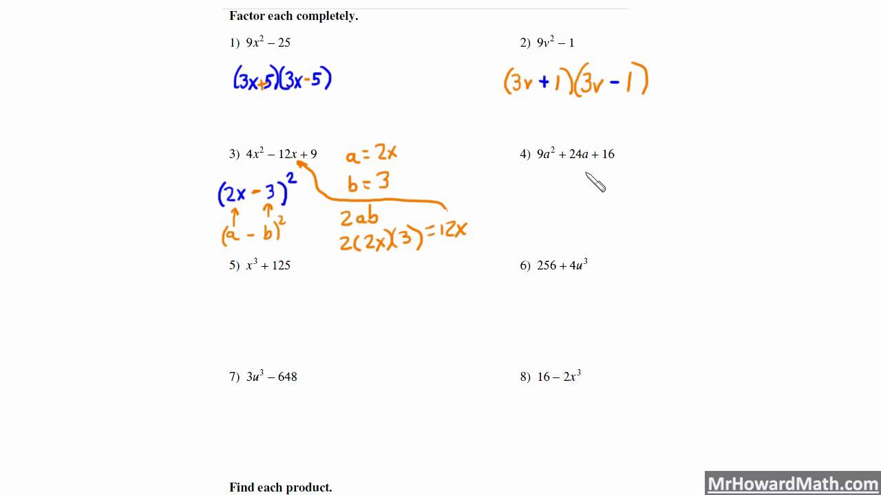worksheet Multiplying Special Case Polynomials factoring special cases worksheet rupsucks printables worksheets patterns with including difference and sum of two