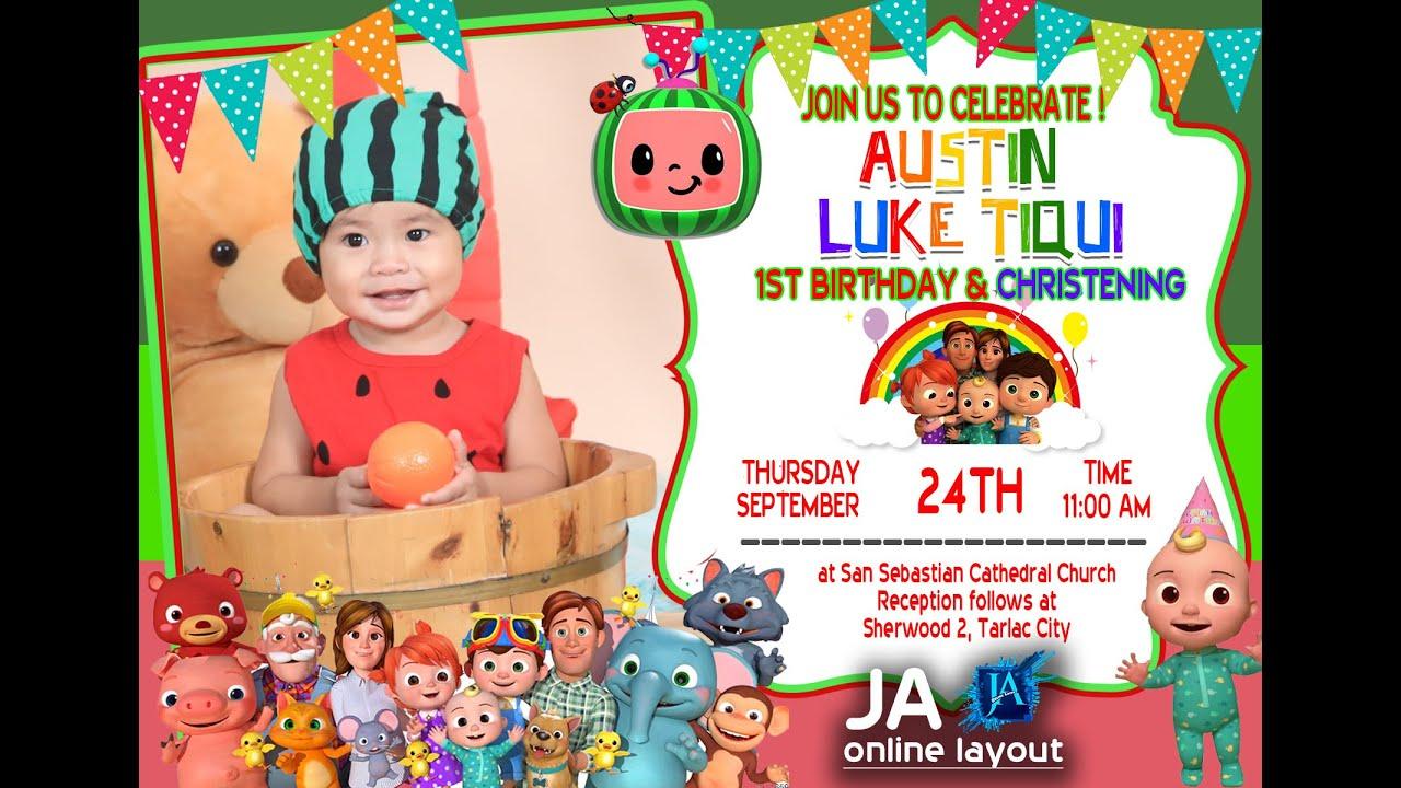 cocomelon theme invitation 1st birthday