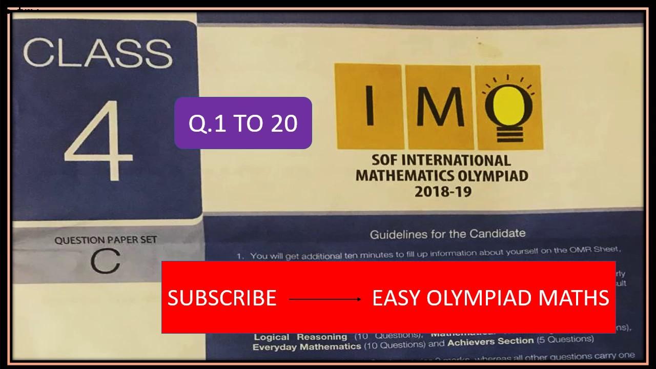 IMO #class 4 # 2018-19 # SET C # International Mathematics Olympiad