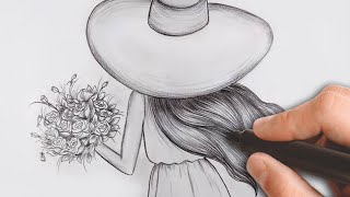 Como desenhar GAROTA com FLORES - Desenho passo a passo