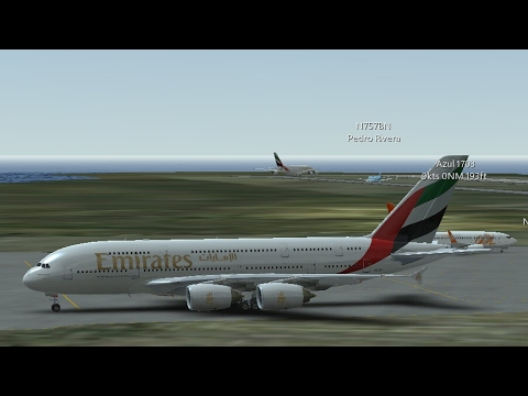 Infinite Flight Simulators broadcast. Emirates Airlines Airbus A380-800 Takeoff (Palm Springs IntI).