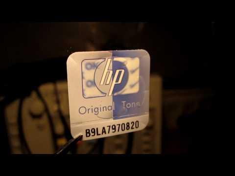 Lenticular print on a HP toner cartridge sticker