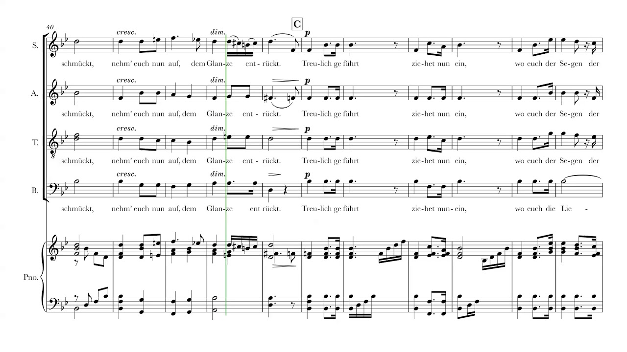 Bridal Chorus Here Comes The Bride For Satb Choir And Piano Sheet Music Score