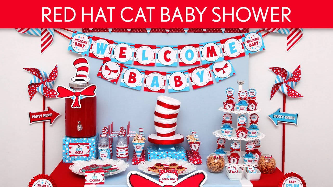 Red Hat Cat Baby Shower Party Ideas S25