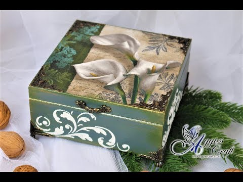 Decoupage Tutorial - Wooden Box with Lilies - DIY
