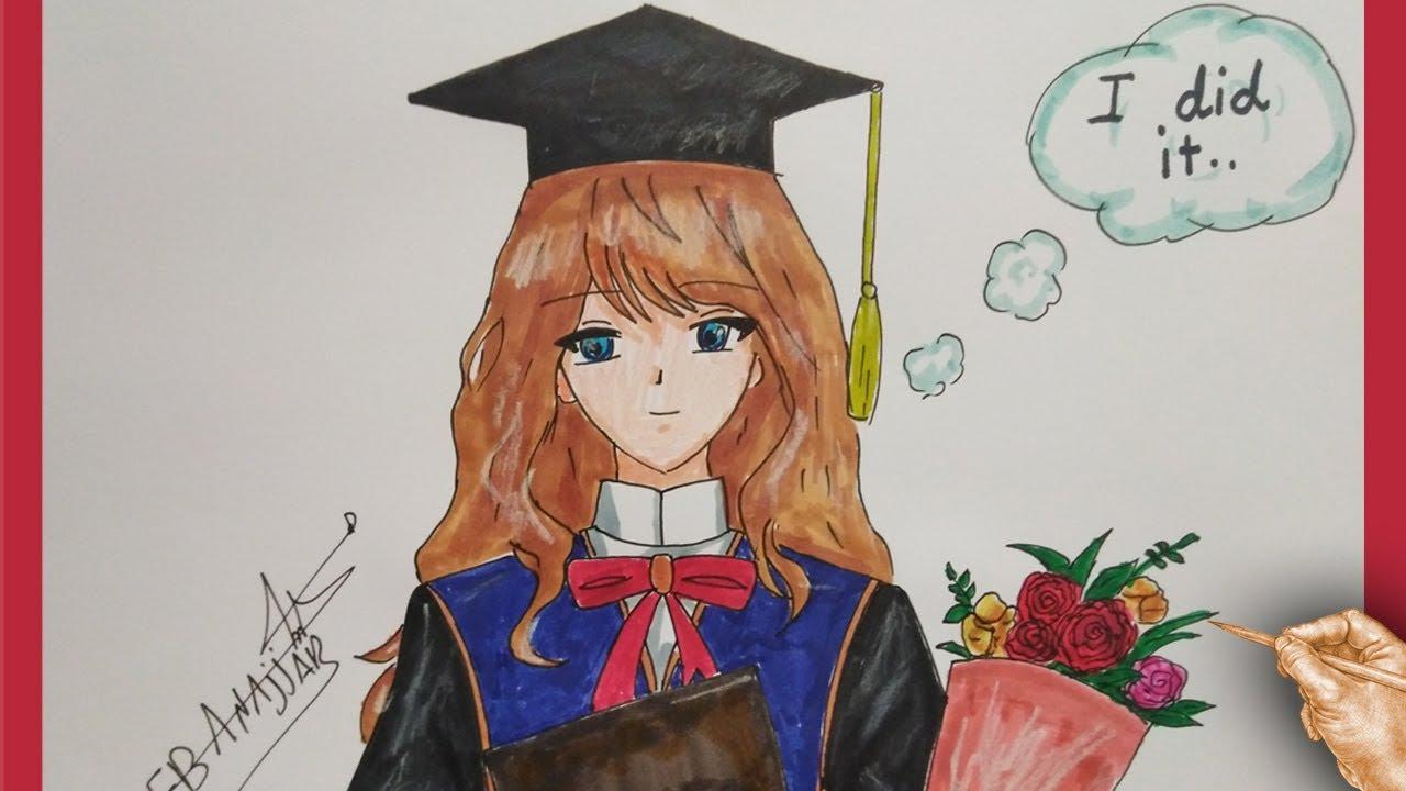 رسم بنت انمي كيوت تحتفل بالتخرج بشكل رائع Youtube