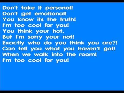 Too Cool karaoke (with lyrics)