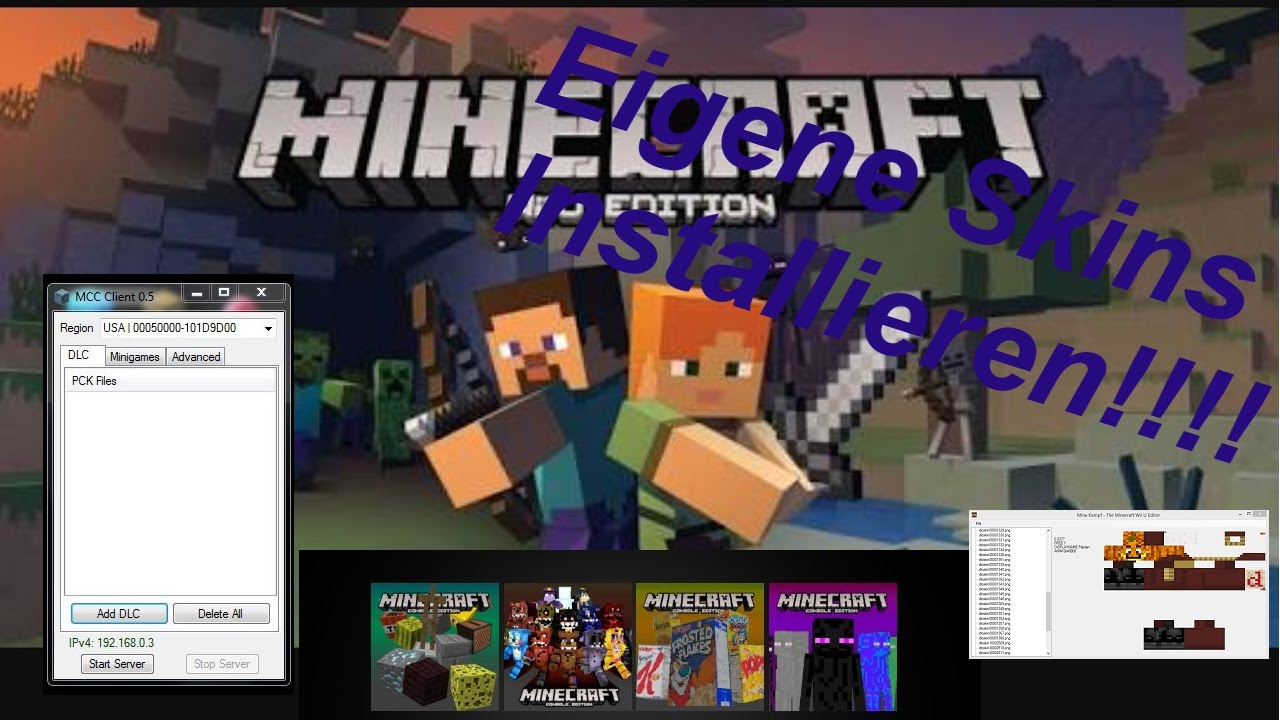 Gratis Eigene Skins Installieren Minecraft Wii U Edition YouTube - Minecraft wii u server erstellen deutsch