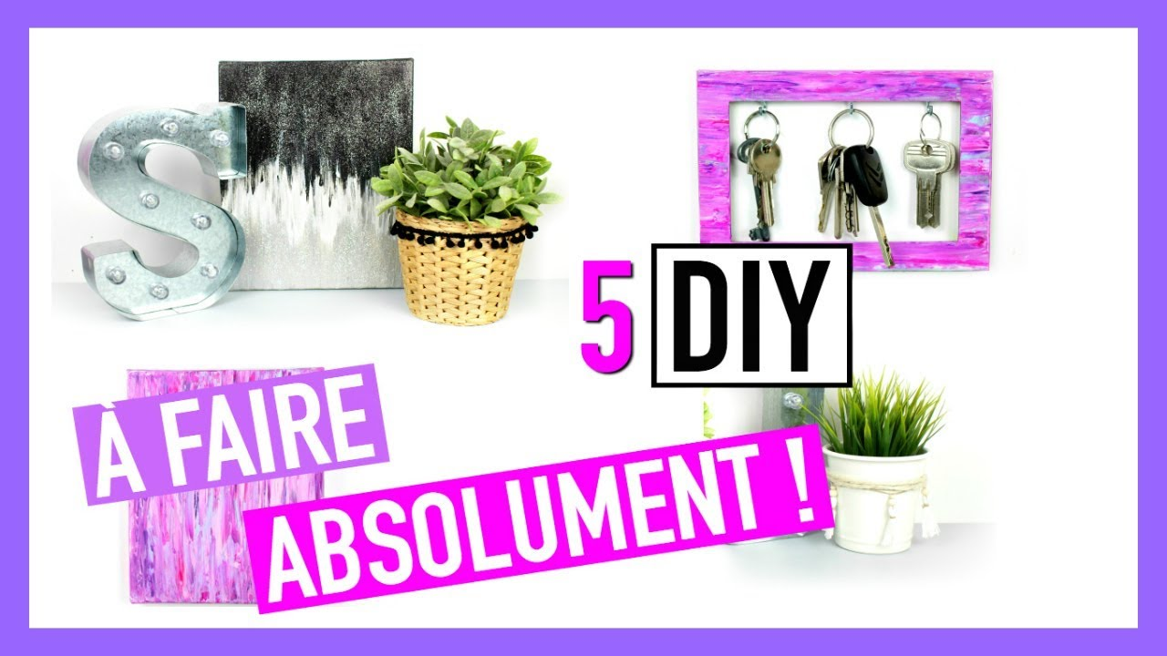 5 diy faire absolument deco chambre facile youtube. Black Bedroom Furniture Sets. Home Design Ideas
