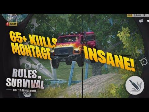 65+ Kills Kill Montage! 1v5 Solo Fireteam, Barrett and Clutches! ROS MOBILE ( RULES OF SURVIVAL  )