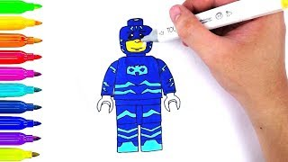 How to Draw LEGO PJ Masks Cat Boy | Learn Drawing and Coloring for Kids