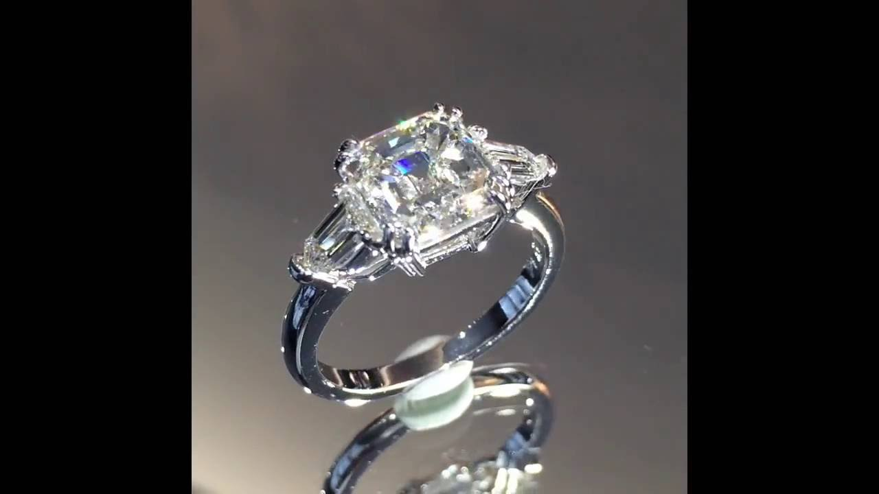 asscher cut diamond 3 stone engagement ring youtube. Black Bedroom Furniture Sets. Home Design Ideas