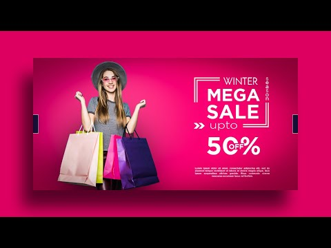 Winter Sale Banner | Facebook Ads Cover - Design advertising post in Photoshop cc
