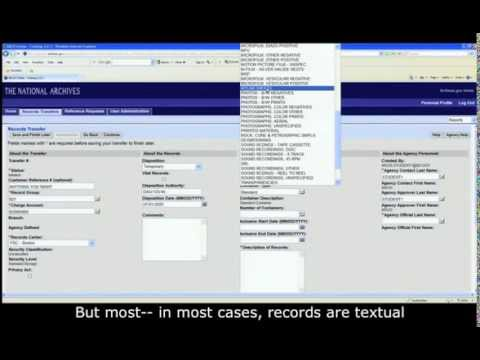 ARCIS Training Module 5: Records Transfers - Create a new transfer - basic