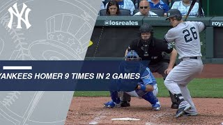 Yankees mash 9 HRs over 2 games in Kansas City