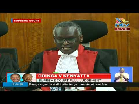 Justice Isaac Lenaola reads the introduction of the full Supreme Court ruling