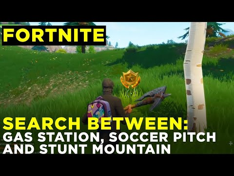 Search Between A Gas Station, Soccer Pitch And Stunt Mountain - Fortnite Challenge Location Guide