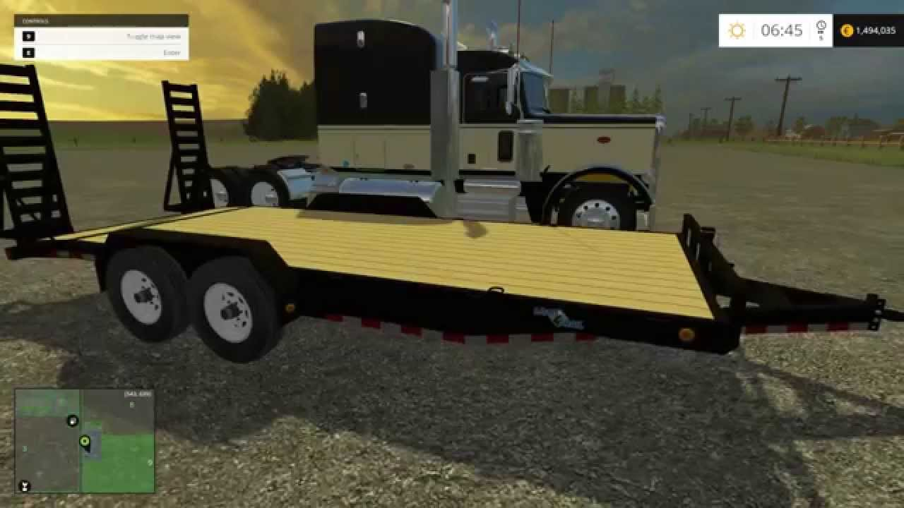 Farming simulator 2015 mods flatbed equipment trailer lifted ford and more youtube
