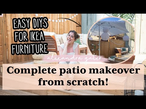 COMPLETE PATIO MAKEOVER FROM SCRATCH   DIY IKEA OUTDOOR FURNITURE HACKS